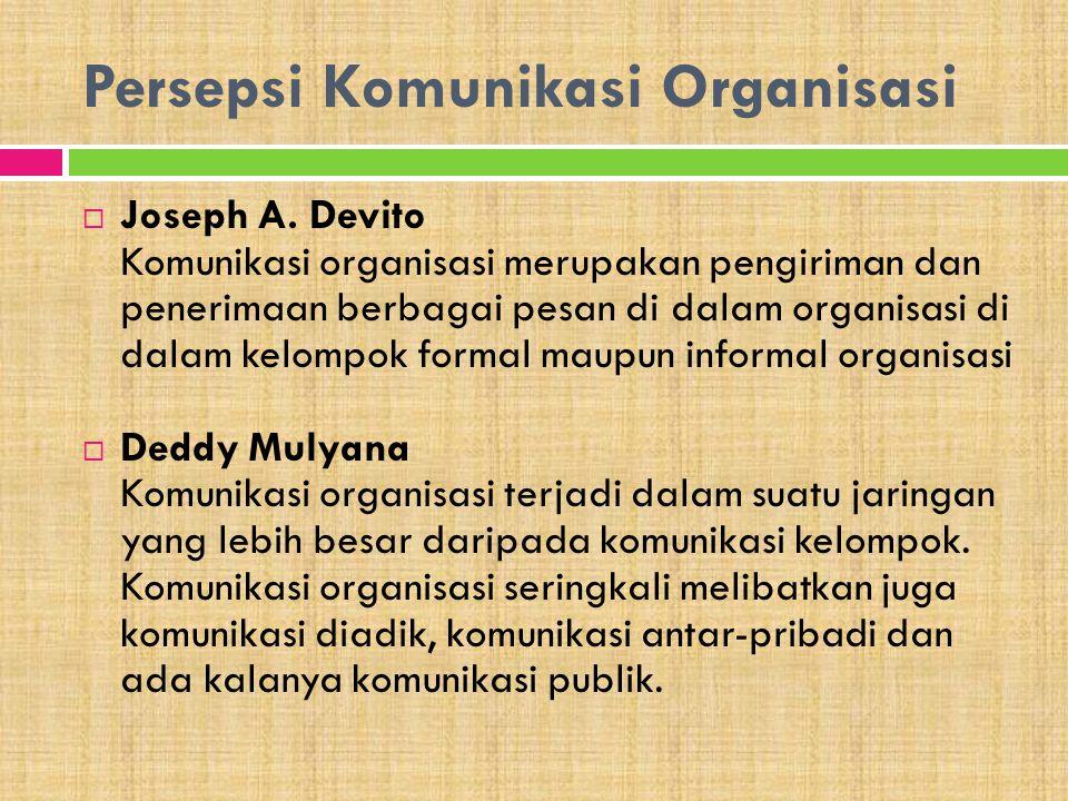 Persepsi Komunikasi Organisasi  Joseph A. Devito Komunikasi organisasi merupakan pengiriman dan penerimaan berbagai pesan di dalam organisasi di dala
