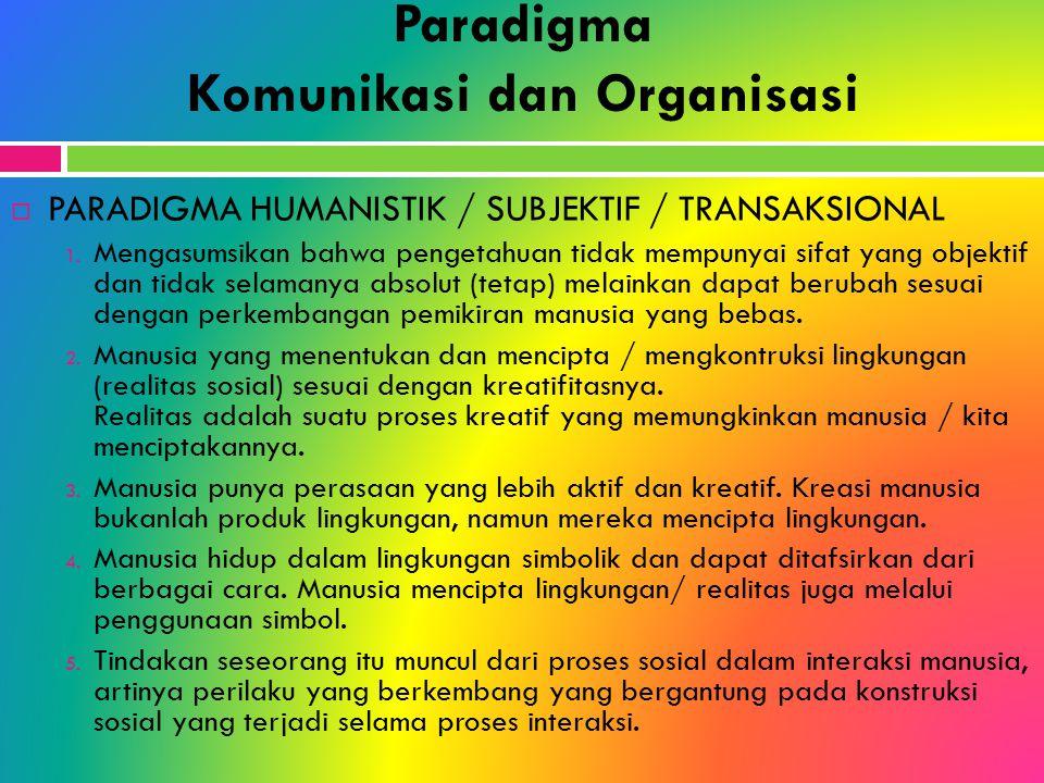 Paradigma Komunikasi dan Organisasi  PARADIGMA HUMANISTIK / SUBJEKTIF / TRANSAKSIONAL 1. Mengasumsikan bahwa pengetahuan tidak mempunyai sifat yang o