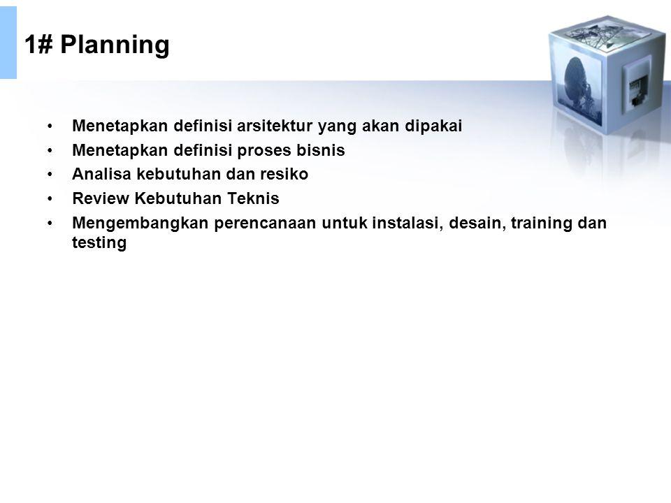1# Planning Menetapkan definisi arsitektur yang akan dipakai Menetapkan definisi proses bisnis Analisa kebutuhan dan resiko Review Kebutuhan Teknis Mengembangkan perencanaan untuk instalasi, desain, training dan testing
