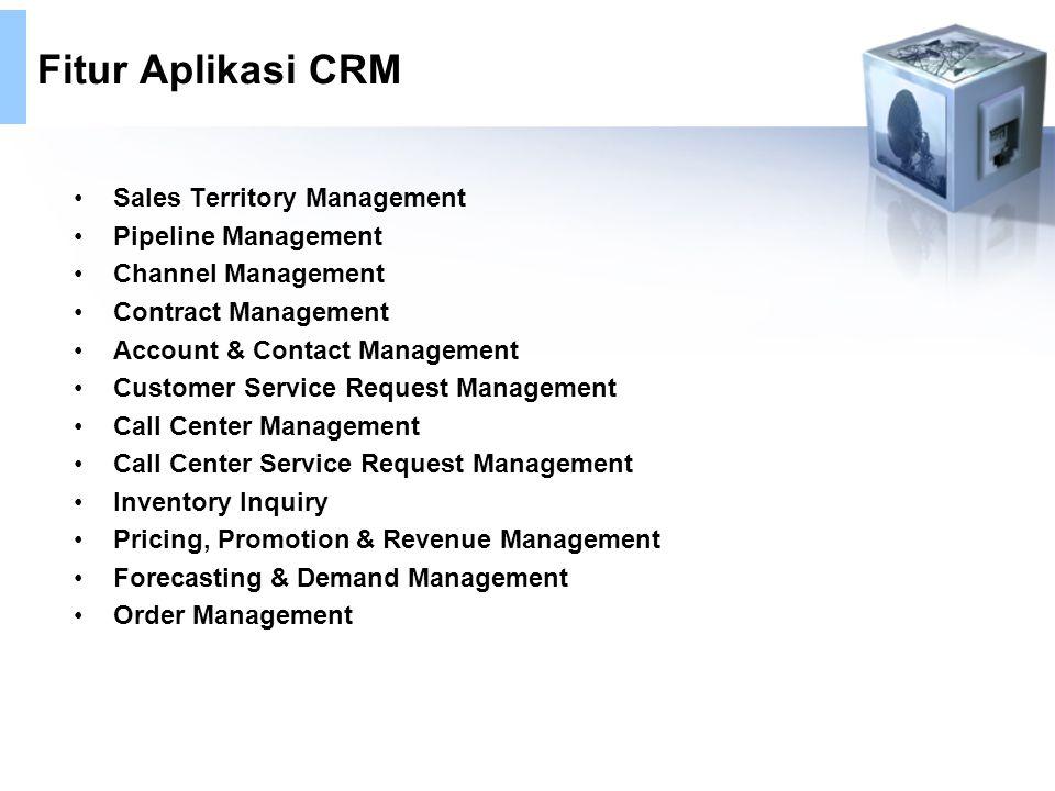 Fitur Aplikasi CRM Sales Territory Management Pipeline Management Channel Management Contract Management Account & Contact Management Customer Service
