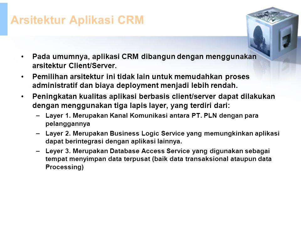Arsitektur Aplikasi CRM Pada umumnya, aplikasi CRM dibangun dengan menggunakan arsitektur Client/Server. Pemilihan arsitektur ini tidak lain untuk mem