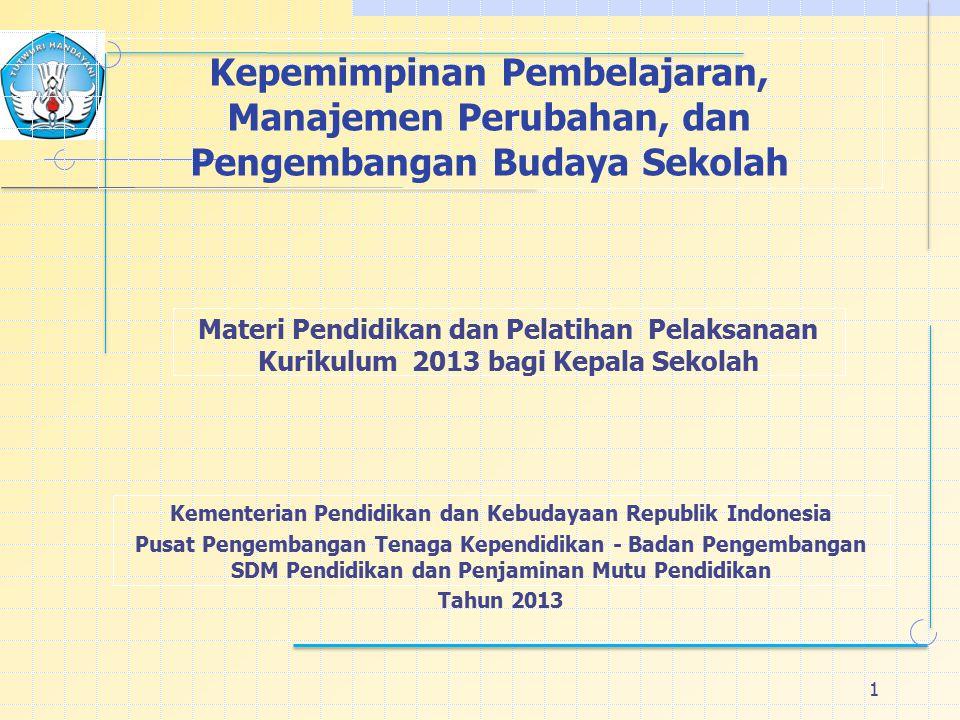 1 Kepemimpinan Pembelajaran, Manajemen Perubahan, dan Pengembangan Budaya Sekolah Materi Pendidikan dan Pelatihan Pelaksanaan Kurikulum 2013 bagi Kepala Sekolah Kementerian Pendidikan dan Kebudayaan Republik Indonesia Pusat Pengembangan Tenaga Kependidikan - Badan Pengembangan SDM Pendidikan dan Penjaminan Mutu Pendidikan Tahun 2013