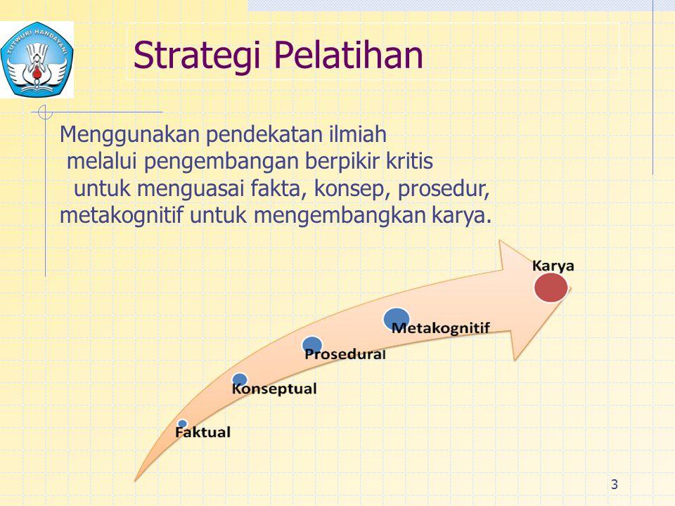 Strategi Pelatihan 3 Menggunakan pendekatan ilmiah melalui pengembangan berpikir kritis untuk menguasai fakta, konsep, prosedur, metakognitif untuk mengembangkan karya.