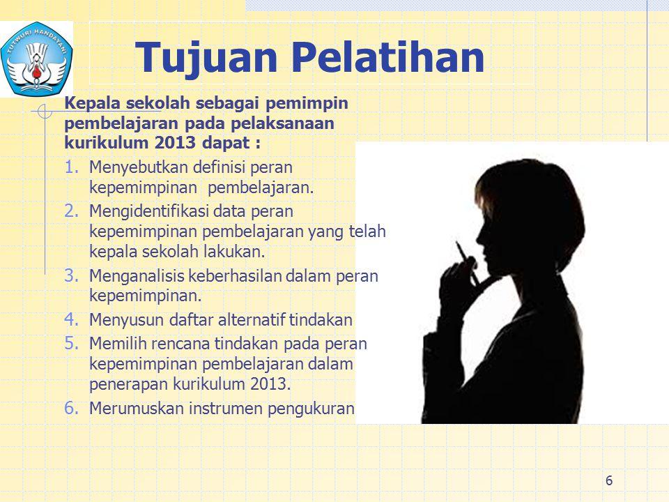 6 Tujuan Pelatihan Kepala sekolah sebagai pemimpin pembelajaran pada pelaksanaan kurikulum 2013 dapat : 1.