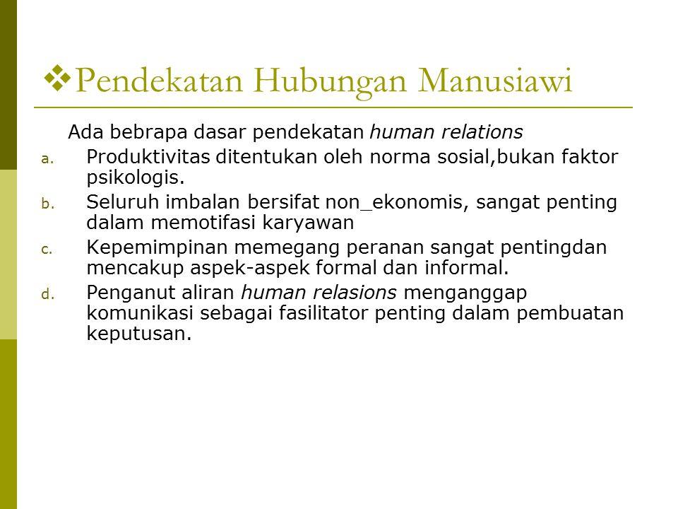  Pendekatan Hubungan Manusiawi Ada bebrapa dasar pendekatan human relations a.