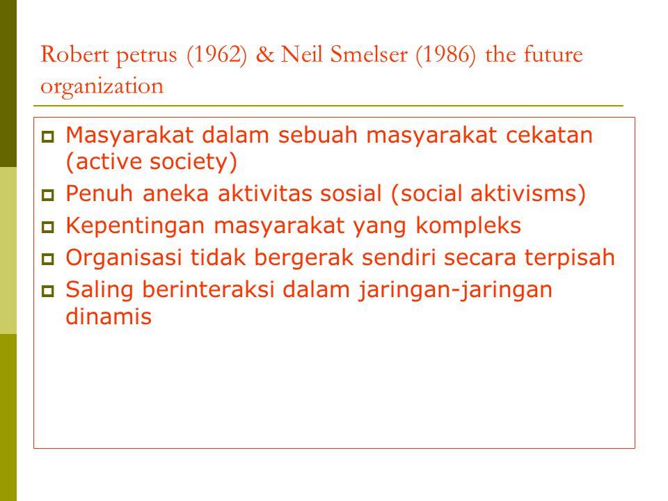 Robert petrus (1962) & Neil Smelser (1986) the future organization  Masyarakat dalam sebuah masyarakat cekatan (active society)  Penuh aneka aktivit