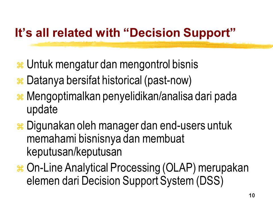"""10 It's all related with """"Decision Support"""" z Untuk mengatur dan mengontrol bisnis z Datanya bersifat historical (past-now) z Mengoptimalkan penyelidi"""
