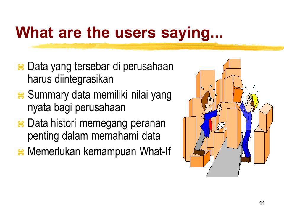 11 What are the users saying... z Data yang tersebar di perusahaan harus diintegrasikan z Summary data memiliki nilai yang nyata bagi perusahaan z Dat
