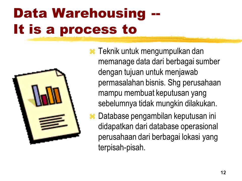 12 Data Warehousing -- It is a process to z Teknik untuk mengumpulkan dan memanage data dari berbagai sumber dengan tujuan untuk menjawab permasalahan