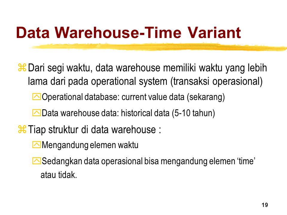 19 Data Warehouse-Time Variant zDari segi waktu, data warehouse memiliki waktu yang lebih lama dari pada operational system (transaksi operasional) yO