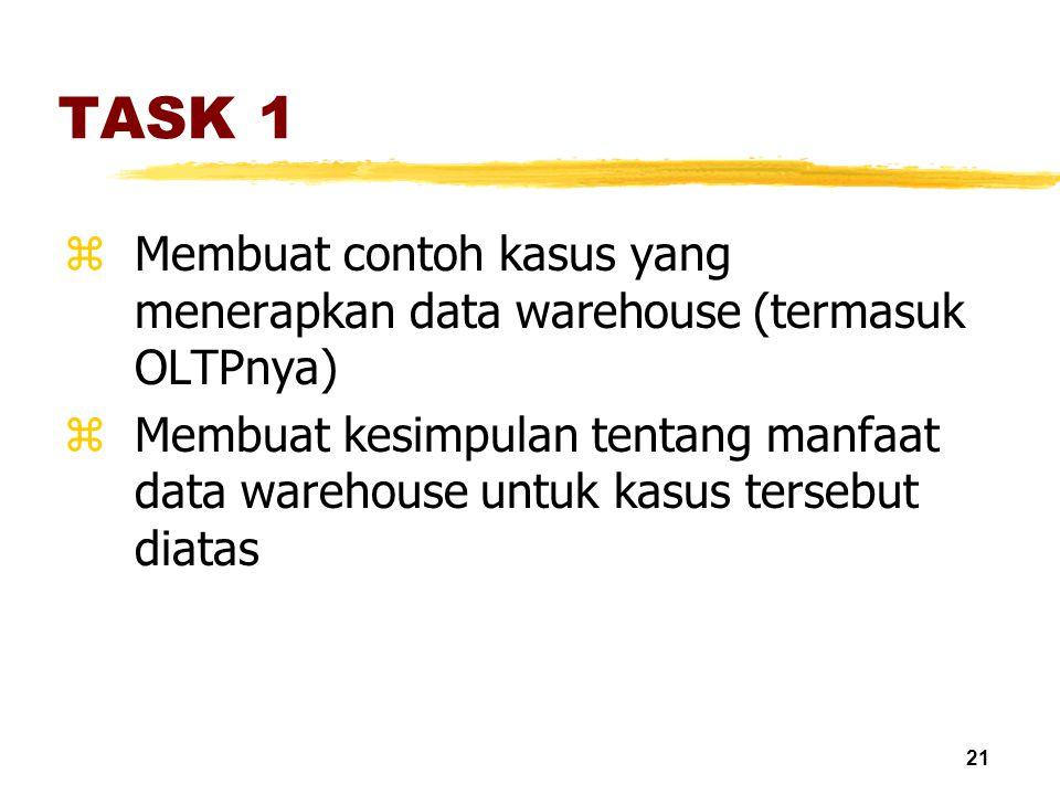 21 TASK 1 zMembuat contoh kasus yang menerapkan data warehouse (termasuk OLTPnya) zMembuat kesimpulan tentang manfaat data warehouse untuk kasus terse