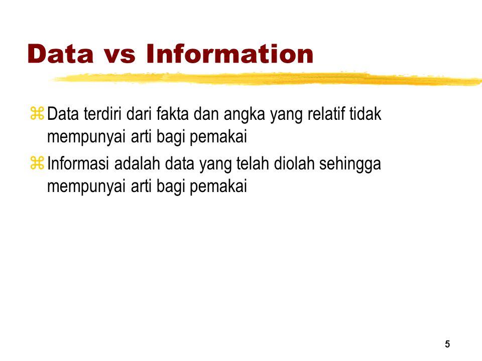 5 Data vs Information zData terdiri dari fakta dan angka yang relatif tidak mempunyai arti bagi pemakai zInformasi adalah data yang telah diolah sehin