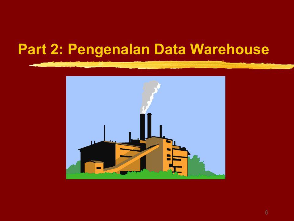 17 Data Warehouse-Subject Oriented zFokusnya pada subjek utama dalam proses bisnis perusahaan, seperti customer, product, dan sales (penjualan).