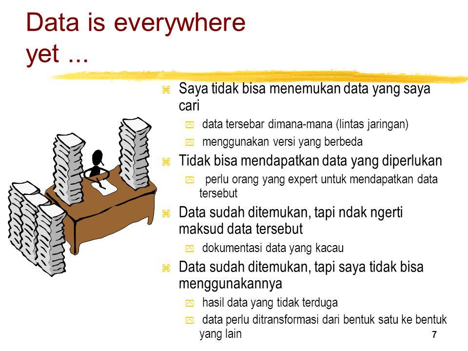 7 Data is everywhere yet... z Saya tidak bisa menemukan data yang saya cari y data tersebar dimana-mana (lintas jaringan) y menggunakan versi yang ber