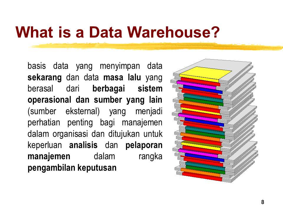 19 Data Warehouse-Time Variant zDari segi waktu, data warehouse memiliki waktu yang lebih lama dari pada operational system (transaksi operasional) yOperational database: current value data (sekarang) yData warehouse data: historical data (5-10 tahun) zTiap struktur di data warehouse : yMengandung elemen waktu ySedangkan data operasional bisa mengandung elemen 'time' atau tidak.
