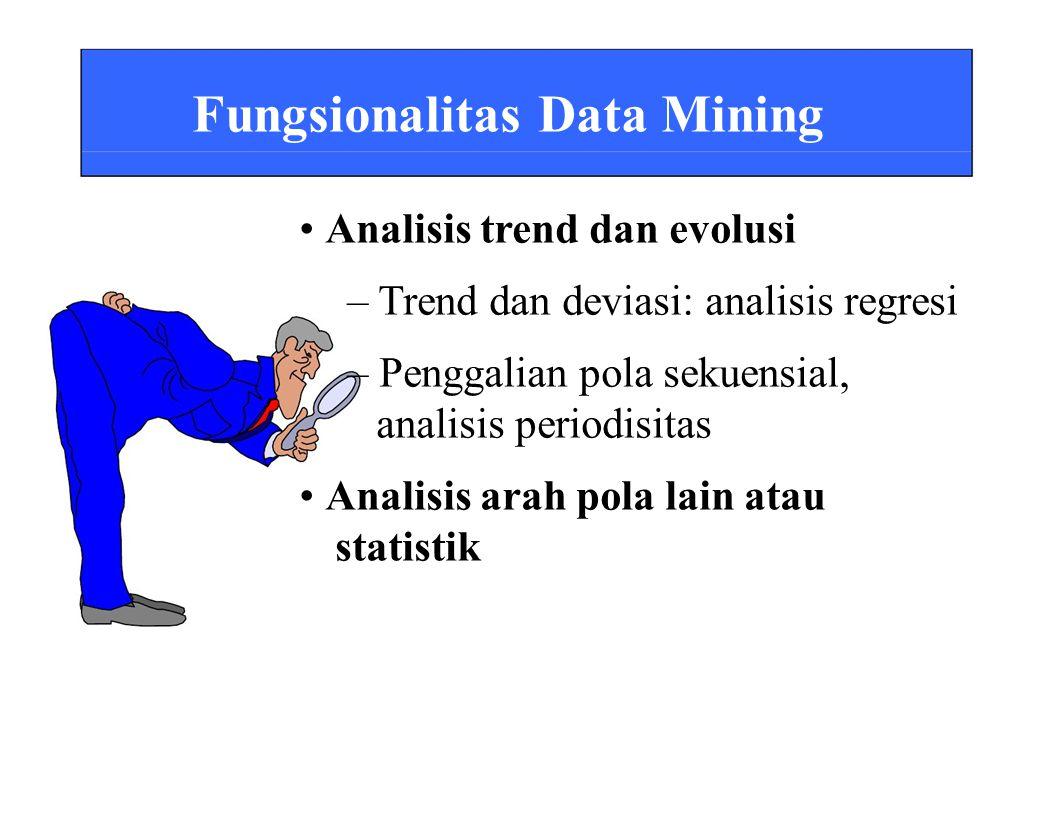 Fungsionalitas Data Mining Analisis trend dan evolusi – Trend dan deviasi: analisis regresi – Penggalian pola sekuensial, analisis periodisitas Analisis arah pola lain atau statistik