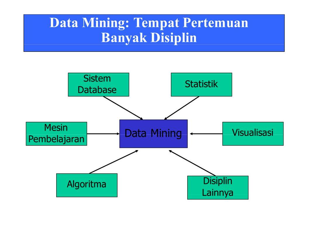 Data Mining: Tempat Pertemuan Banyak Disiplin Sistem Database Statistik Mesin Pembelajaran Algoritma Data Mining Visualisasi Disiplin Lainnya