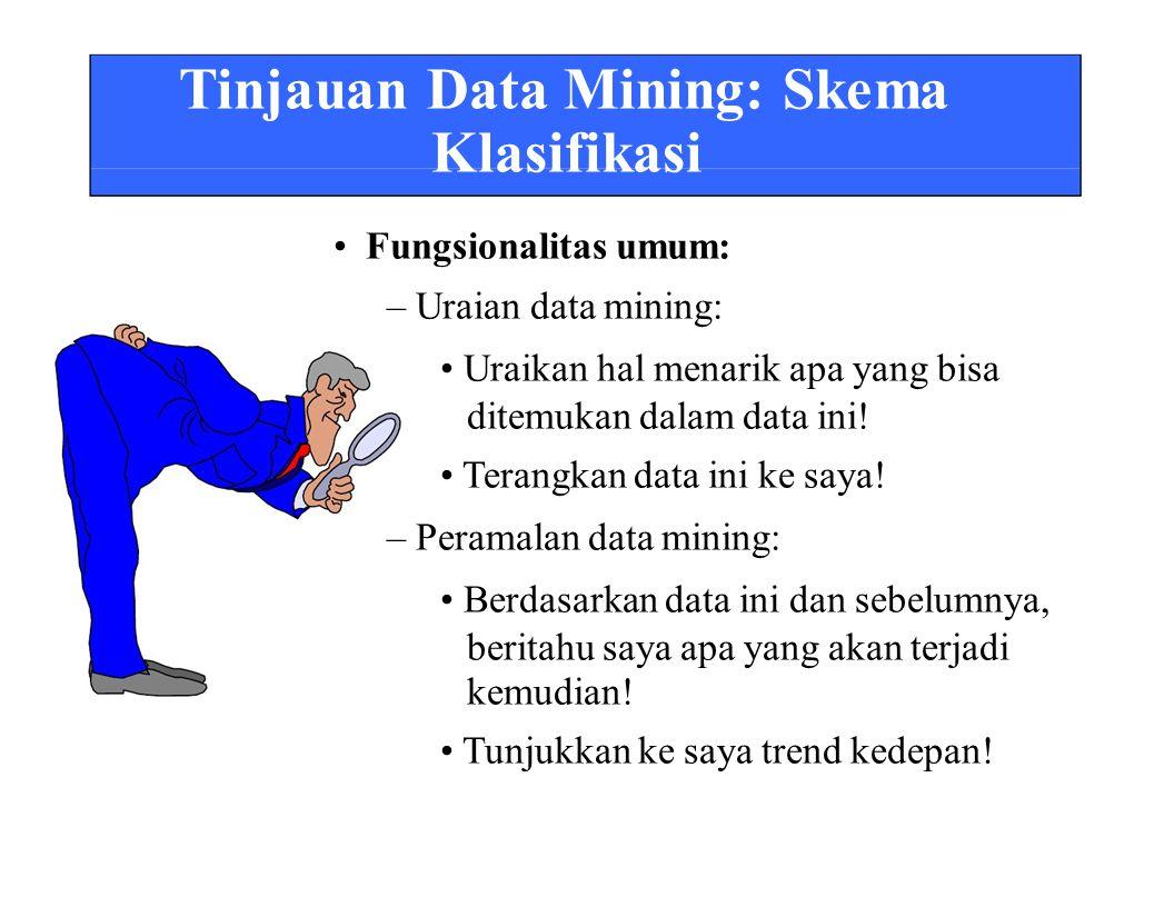 Tinjauan Data Mining: Skema Klasifikasi Fungsionalitas umum: – Uraian data mining: Uraikan hal menarik apa yang bisa ditemukan dalam data ini.