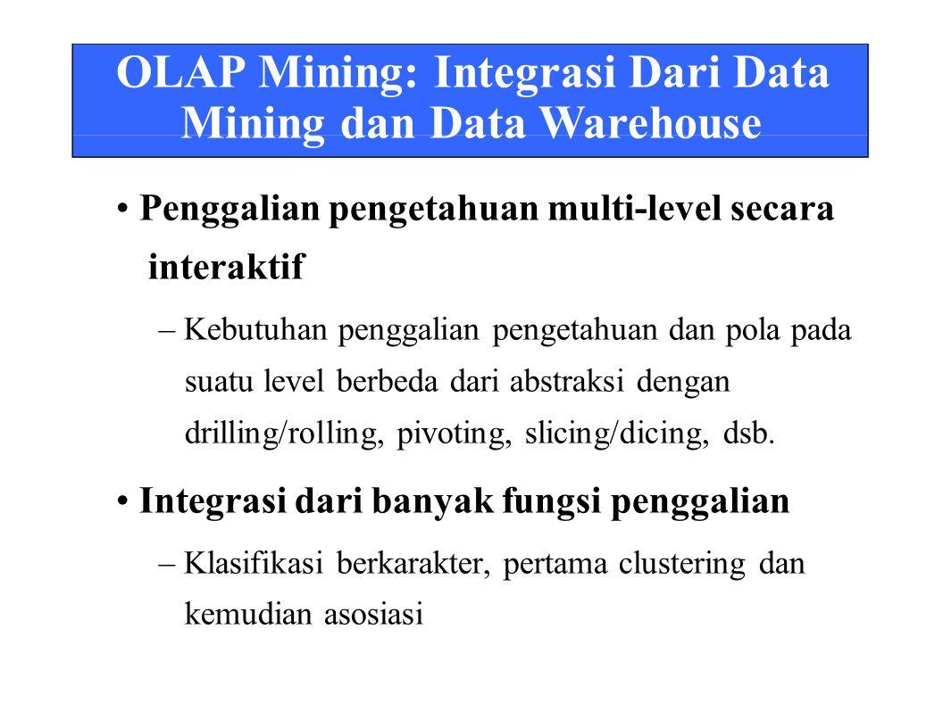 OLAP Mining: Integrasi Dari Data Mining dan Data Warehouse Penggalian pengetahuan multi-level secara interaktif – Kebutuhan penggalian pengetahuan dan pola pada suatu level berbeda dari abstraksi dengan drilling/rolling, pivoting, slicing/dicing, dsb.