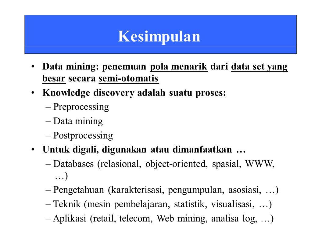 Kesimpulan Data mining: penemuan pola menarik dari data set yang besar secara semi-otomatis Knowledge discovery adalah suatu proses: – Preprocessing – Data mining – Postprocessing Untuk digali, digunakan atau dimanfaatkan … – Databases (relasional, object-oriented, spasial, WWW, …) – Pengetahuan (karakterisasi, pengumpulan, asosiasi, …) – Teknik (mesin pembelajaran, statistik, visualisasi, …) – Aplikasi (retail, telecom, Web mining, analisa log, …)