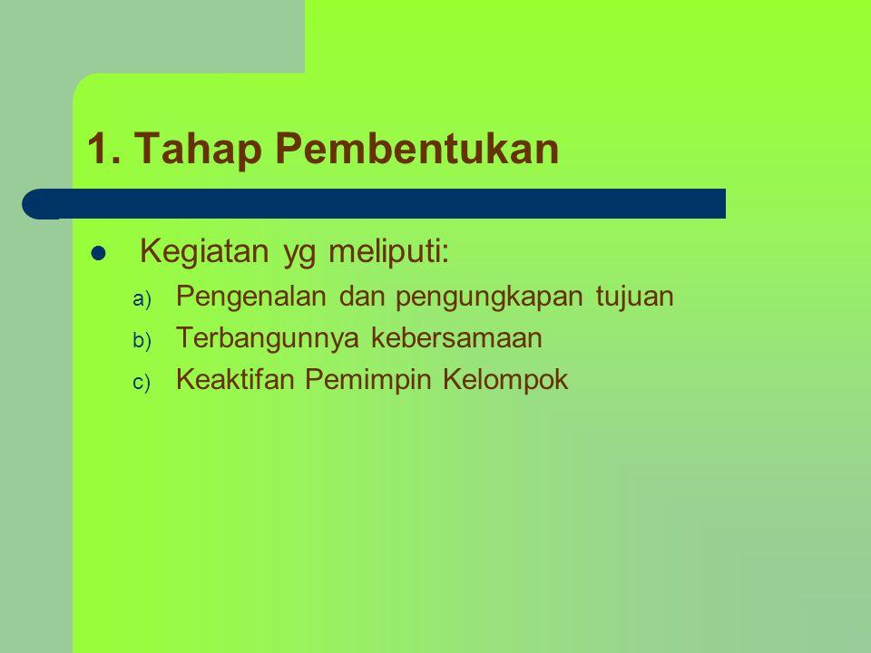 1. Tahap Pembentukan Kegiatan yg meliputi: a) Pengenalan dan pengungkapan tujuan b) Terbangunnya kebersamaan c) Keaktifan Pemimpin Kelompok