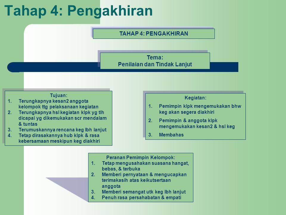 Tahap 4: Pengakhiran TAHAP 4: PENGAKHIRAN Tema: Penilaian dan Tindak Lanjut Tema: Penilaian dan Tindak Lanjut Tujuan: 1.Terungkapnya kesan2 anggota ke