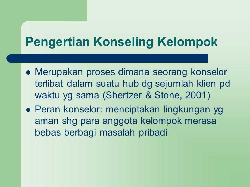 Pengertian Konseling Kelompok Merupakan proses dimana seorang konselor terlibat dalam suatu hub dg sejumlah klien pd waktu yg sama (Shertzer & Stone,