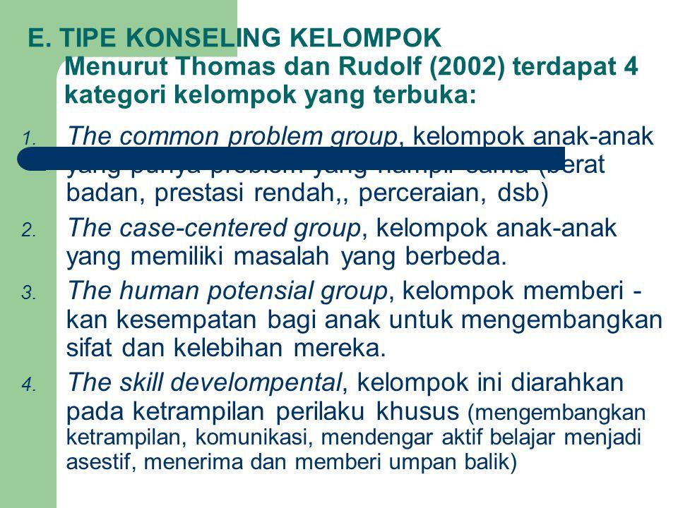 E. TIPE KONSELING KELOMPOK Menurut Thomas dan Rudolf (2002) terdapat 4 kategori kelompok yang terbuka: 1. The common problem group, kelompok anak-anak