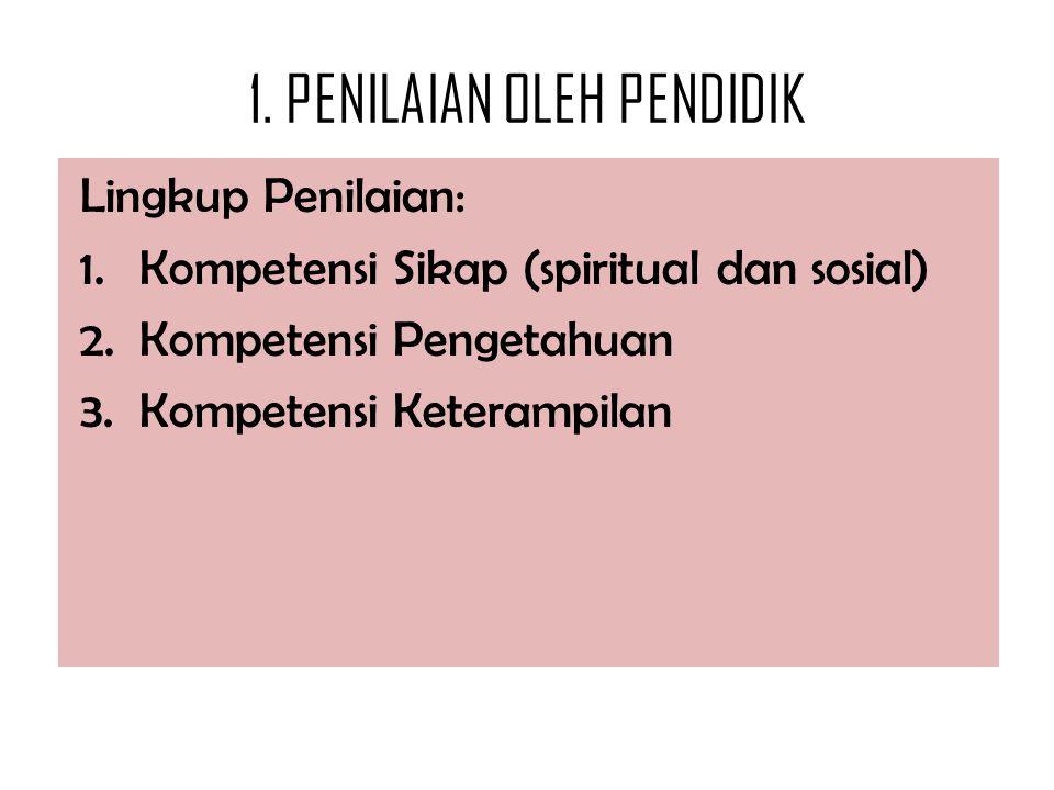 1. PENILAIAN OLEH PENDIDIK Lingkup Penilaian: 1.Kompetensi Sikap (spiritual dan sosial) 2.Kompetensi Pengetahuan 3.Kompetensi Keterampilan