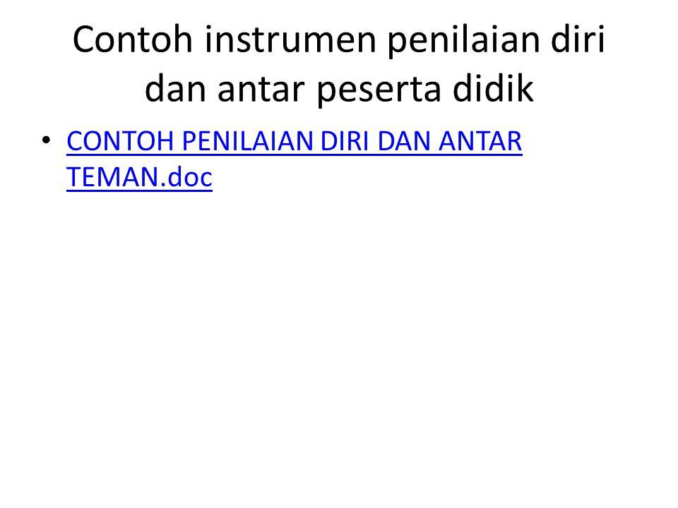 Contoh instrumen penilaian diri dan antar peserta didik CONTOH PENILAIAN DIRI DAN ANTAR TEMAN.doc CONTOH PENILAIAN DIRI DAN ANTAR TEMAN.doc