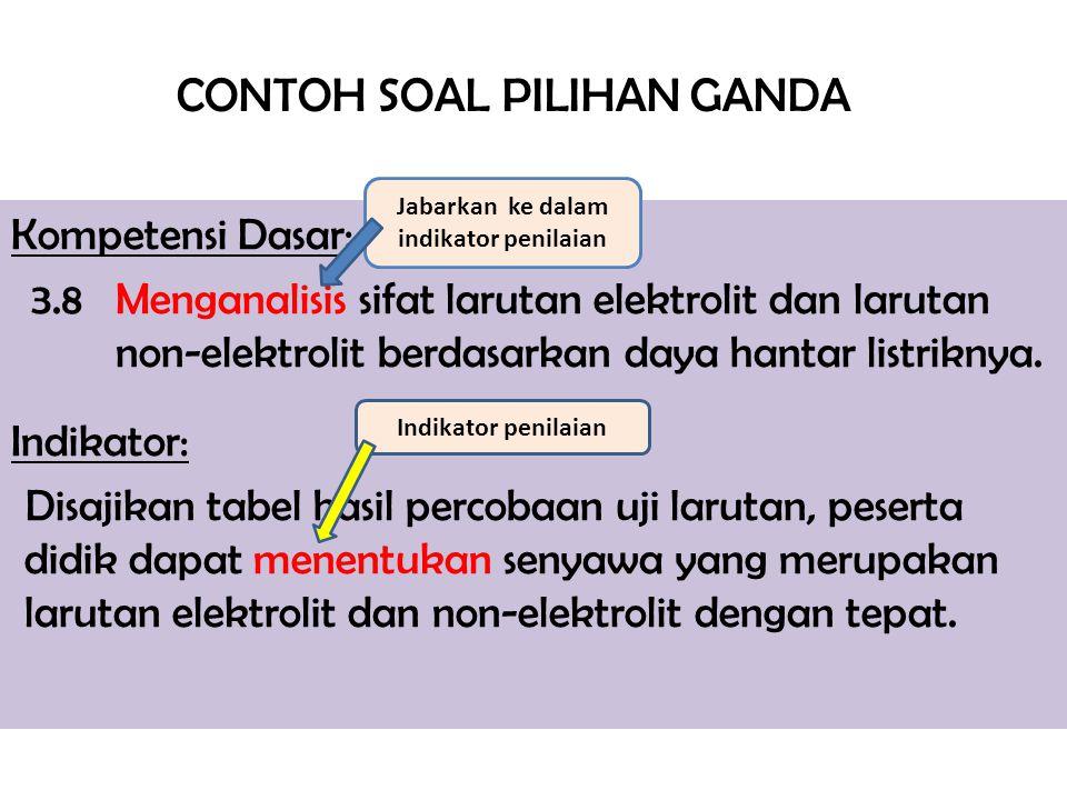 CONTOH SOAL PILIHAN GANDA Kompetensi Dasar: 3.8 Menganalisis sifat larutan elektrolit dan larutan non-elektrolit berdasarkan daya hantar listriknya. I