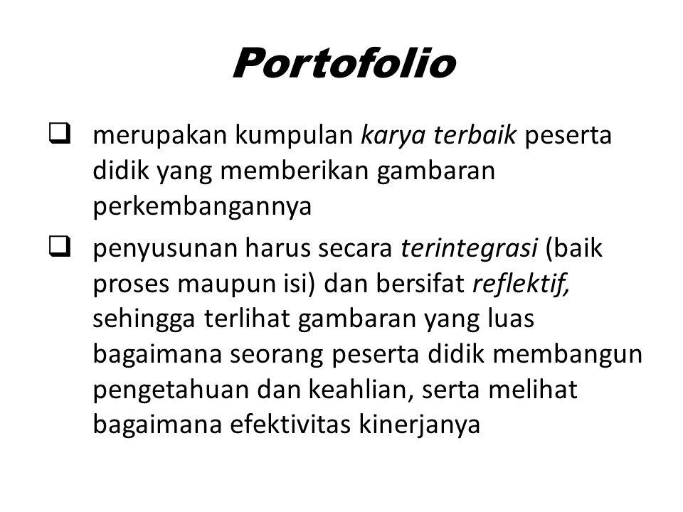 Portofolio  merupakan kumpulan karya terbaik peserta didik yang memberikan gambaran perkembangannya  penyusunan harus secara terintegrasi (baik pros