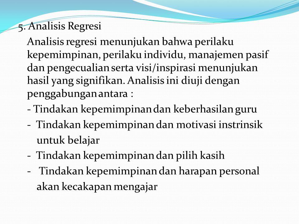 5. Analisis Regresi Analisis regresi menunjukan bahwa perilaku kepemimpinan, perilaku individu, manajemen pasif dan pengecualian serta visi/inspirasi