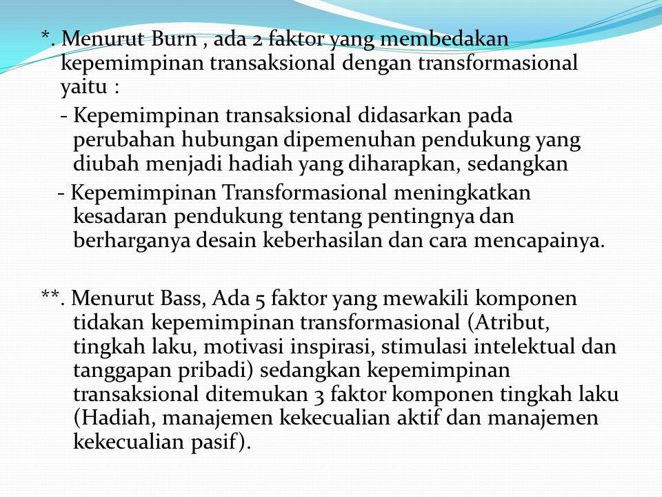 *. Menurut Burn, ada 2 faktor yang membedakan kepemimpinan transaksional dengan transformasional yaitu : - Kepemimpinan transaksional didasarkan pada