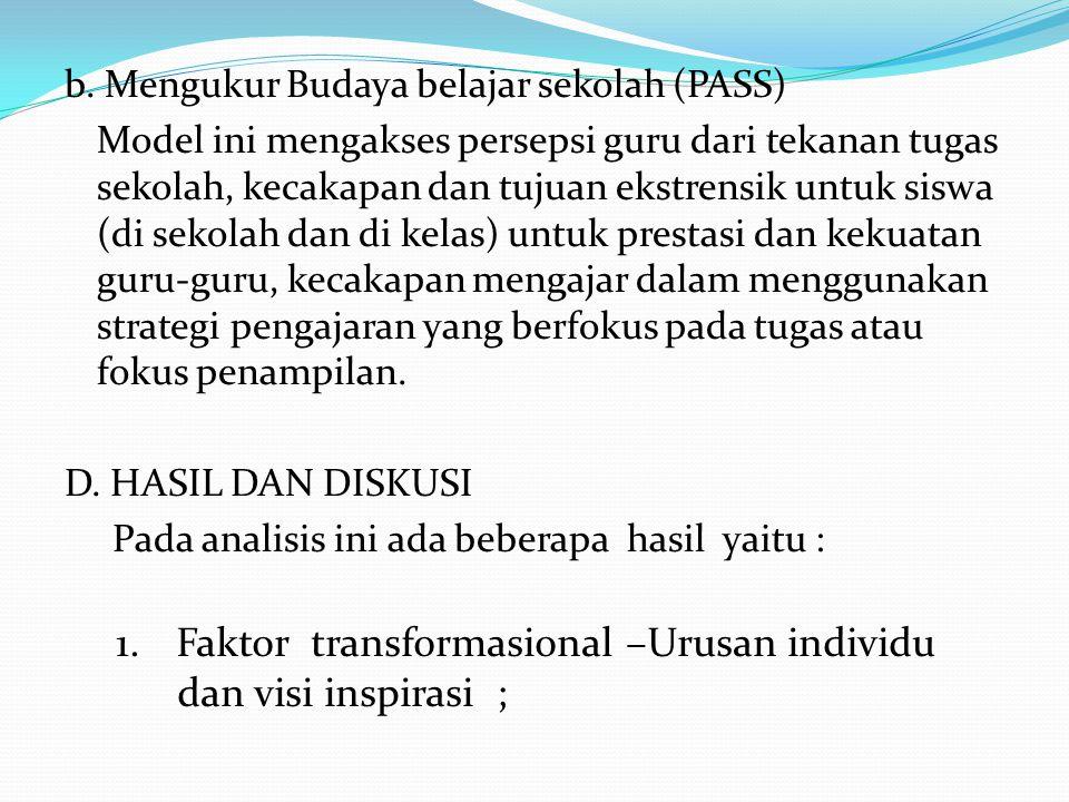 b. Mengukur Budaya belajar sekolah (PASS) Model ini mengakses persepsi guru dari tekanan tugas sekolah, kecakapan dan tujuan ekstrensik untuk siswa (d