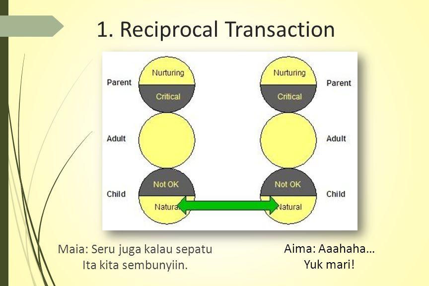 1.Reciprocal Transaction Maia: Seru juga kalau sepatu Ita kita sembunyiin.