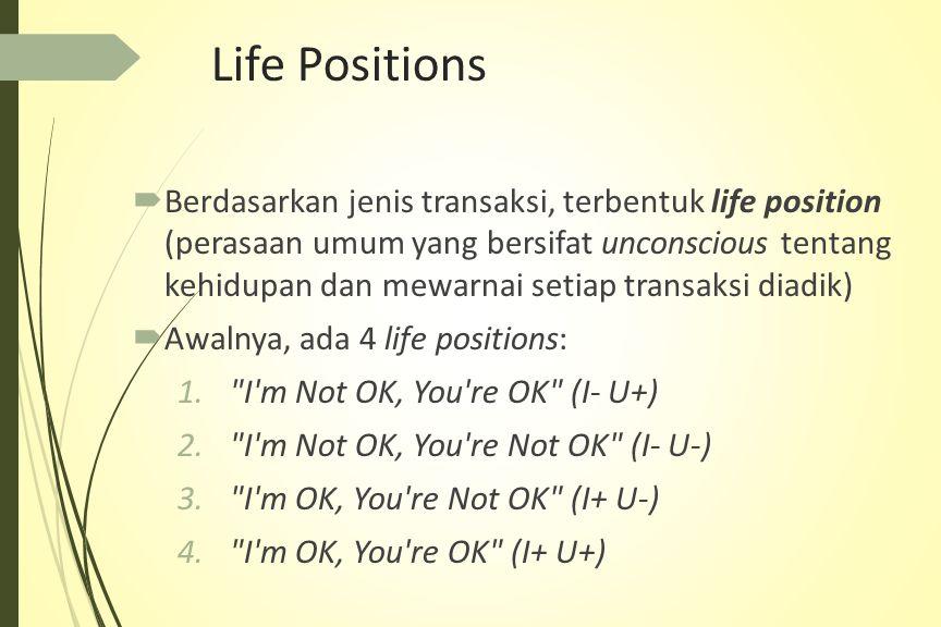 Life Positions  Berdasarkan jenis transaksi, terbentuk life position (perasaan umum yang bersifat unconscious tentang kehidupan dan mewarnai setiap transaksi diadik)  Awalnya, ada 4 life positions: 1. I m Not OK, You re OK (I- U+) 2. I m Not OK, You re Not OK (I- U-) 3. I m OK, You re Not OK (I+ U-) 4. I m OK, You re OK (I+ U+)