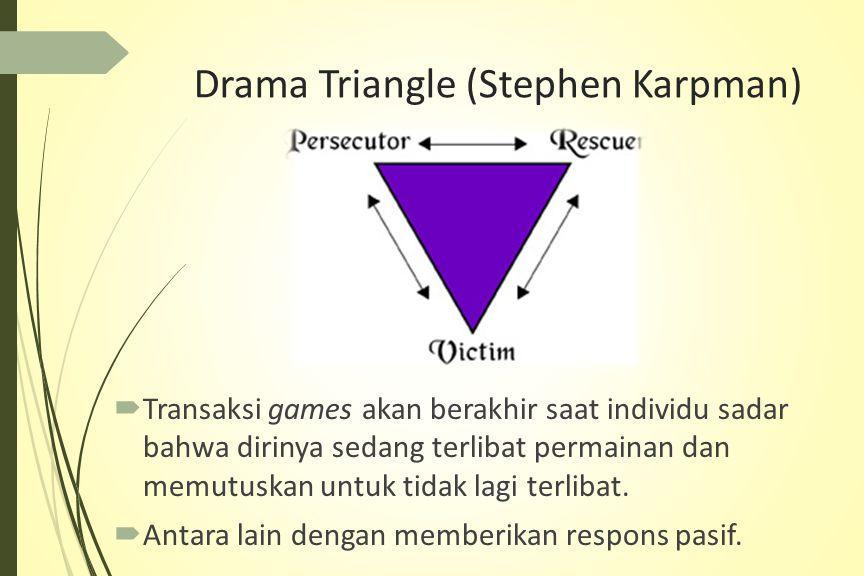 Drama Triangle (Stephen Karpman)  Transaksi games akan berakhir saat individu sadar bahwa dirinya sedang terlibat permainan dan memutuskan untuk tidak lagi terlibat.