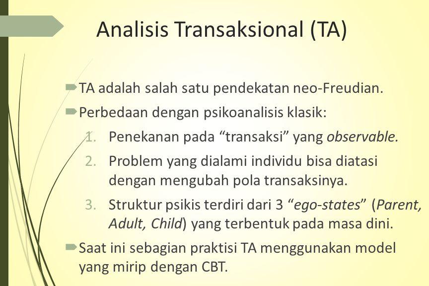 Analisis Transaksional (TA)  TA adalah salah satu pendekatan neo-Freudian.