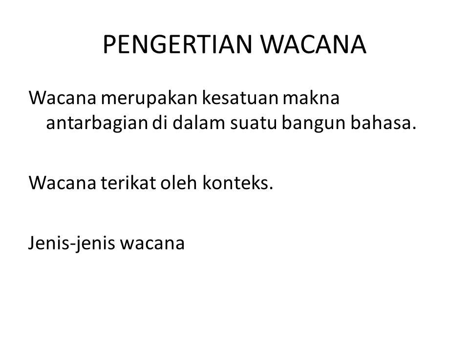 PENGERTIAN WACANA Wacana merupakan kesatuan makna antarbagian di dalam suatu bangun bahasa. Wacana terikat oleh konteks. Jenis-jenis wacana