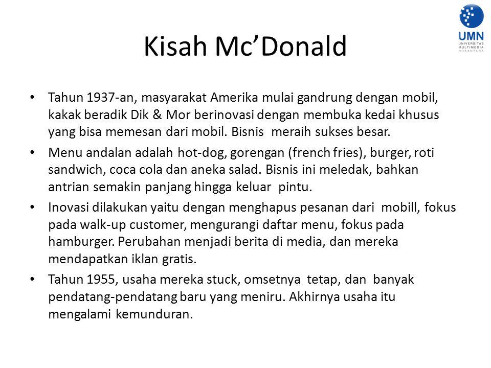 Kisah Mc'Donald Tahun 1937-an, masyarakat Amerika mulai gandrung dengan mobil, kakak beradik Dik & Mor berinovasi dengan membuka kedai khusus yang bis