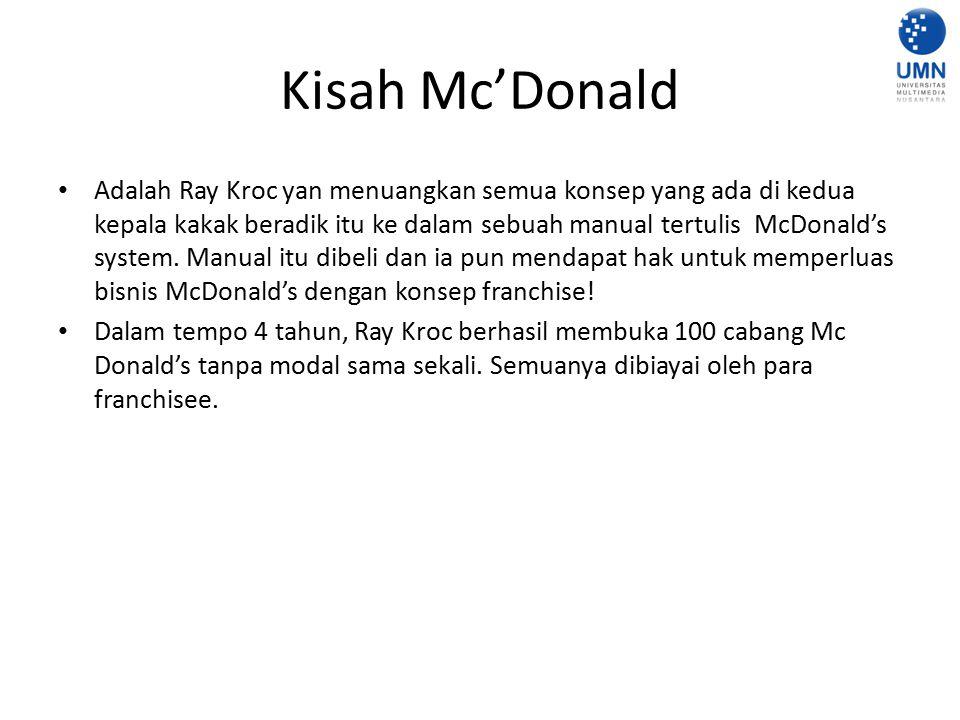 Kisah Mc'Donald Adalah Ray Kroc yan menuangkan semua konsep yang ada di kedua kepala kakak beradik itu ke dalam sebuah manual tertulis McDonald's syst