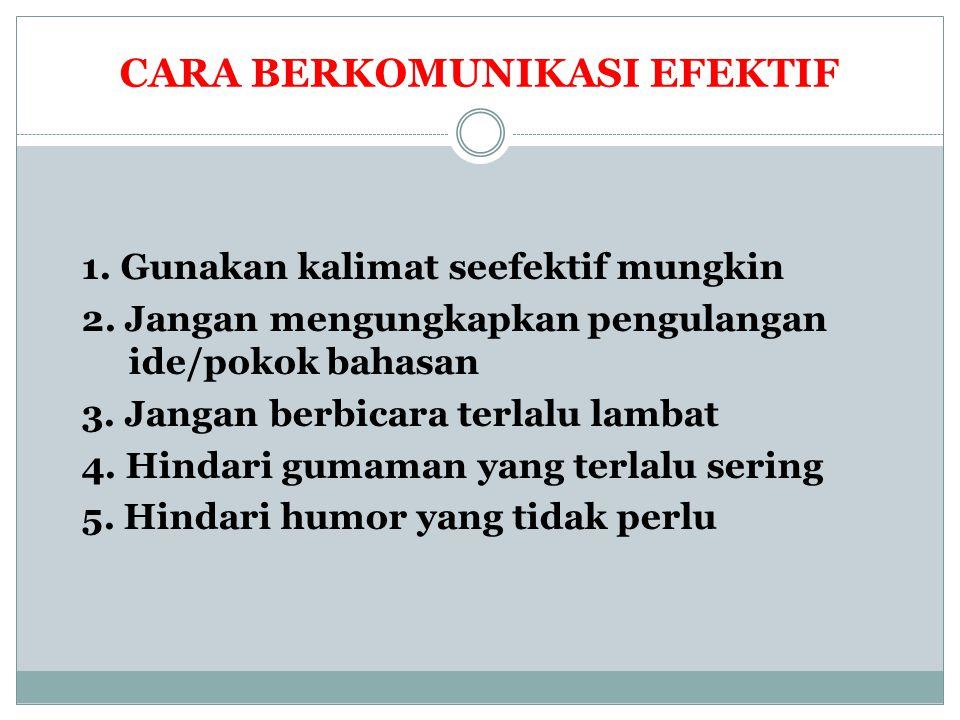 CARA BERKOMUNIKASI EFEKTIF 1. Gunakan kalimat seefektif mungkin 2. Jangan mengungkapkan pengulangan ide/pokok bahasan 3. Jangan berbicara terlalu lamb