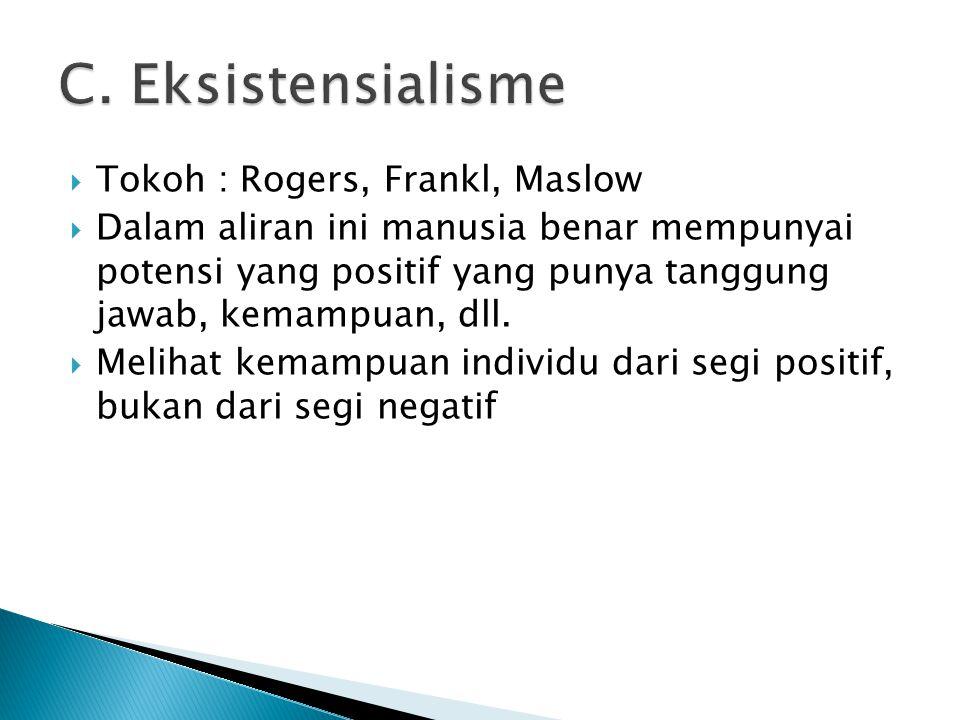  Tokoh : Rogers, Frankl, Maslow  Dalam aliran ini manusia benar mempunyai potensi yang positif yang punya tanggung jawab, kemampuan, dll.