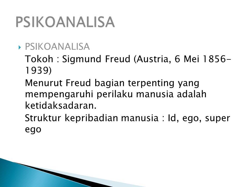  PSIKOANALISA Tokoh : Sigmund Freud (Austria, 6 Mei 1856- 1939) Menurut Freud bagian terpenting yang mempengaruhi perilaku manusia adalah ketidaksadaran.
