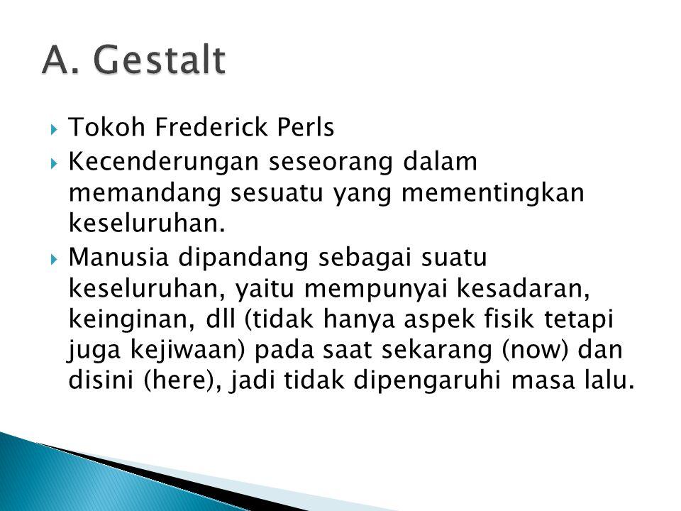  Tokoh Frederick Perls  Kecenderungan seseorang dalam memandang sesuatu yang mementingkan keseluruhan.