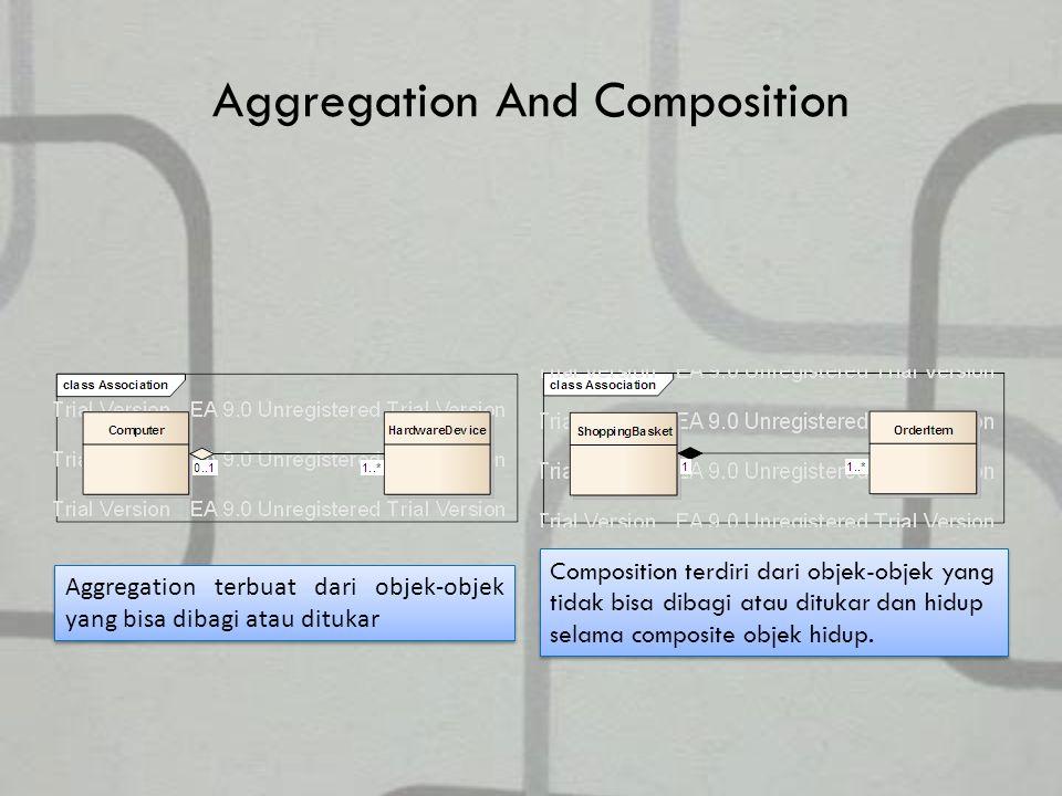 Aggregation And Composition Aggregation terbuat dari objek-objek yang bisa dibagi atau ditukar Composition terdiri dari objek-objek yang tidak bisa dibagi atau ditukar dan hidup selama composite objek hidup.