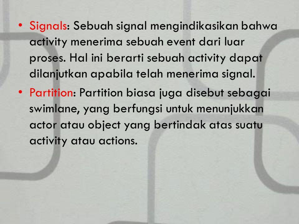 Signals: Sebuah signal mengindikasikan bahwa activity menerima sebuah event dari luar proses.