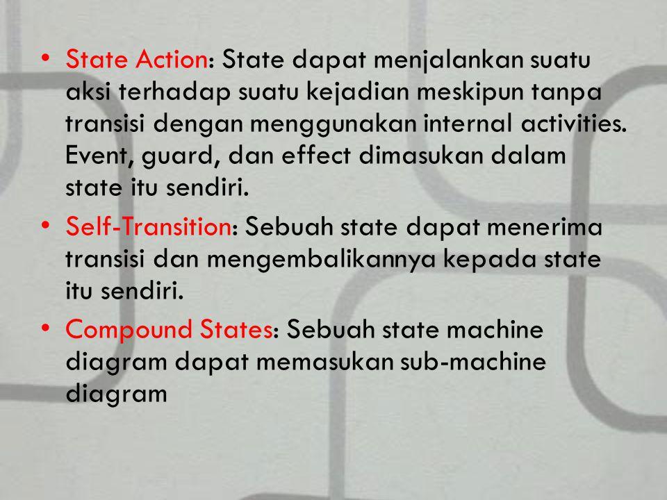 State Action: State dapat menjalankan suatu aksi terhadap suatu kejadian meskipun tanpa transisi dengan menggunakan internal activities.