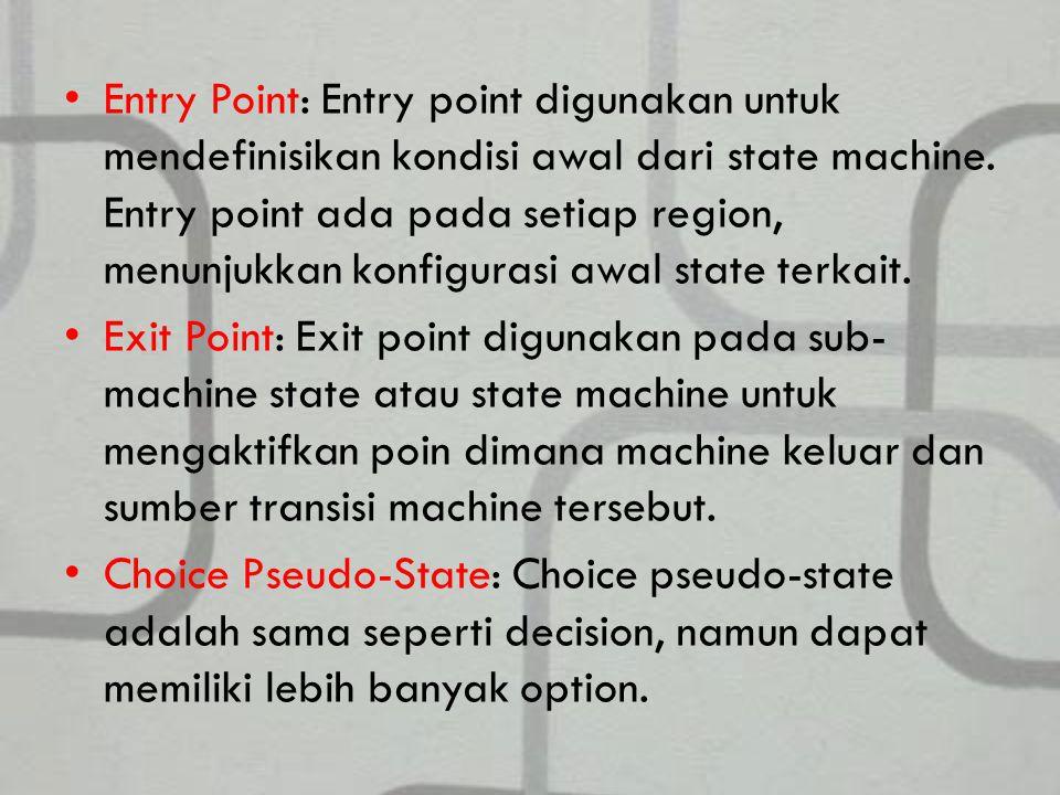 Entry Point: Entry point digunakan untuk mendefinisikan kondisi awal dari state machine.